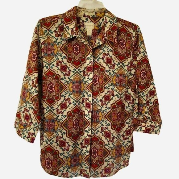 Chicos Womens Button Front Shirt